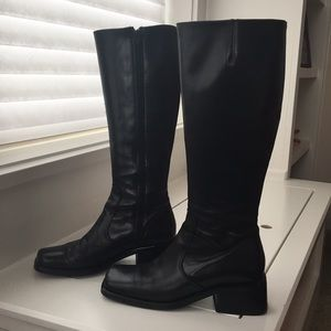 Shoes - Black tall Italian leather boots 37 7 knee high